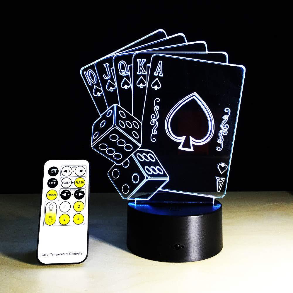 Casino Poker Cards Dice Light Light Light 3D Illusion Nightlight Mesa Escritorio Dormitorio Lámpara de noche Decoración V Usb Cambio de color con control remoto cbd2b1