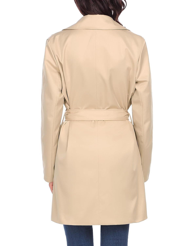 d51d371d691e Zeela Femme Long Manteau Parka Veste avec Ceinture Slim Coupe-Vent Trench  Coat  Amazon.fr  Vêtements et accessoires