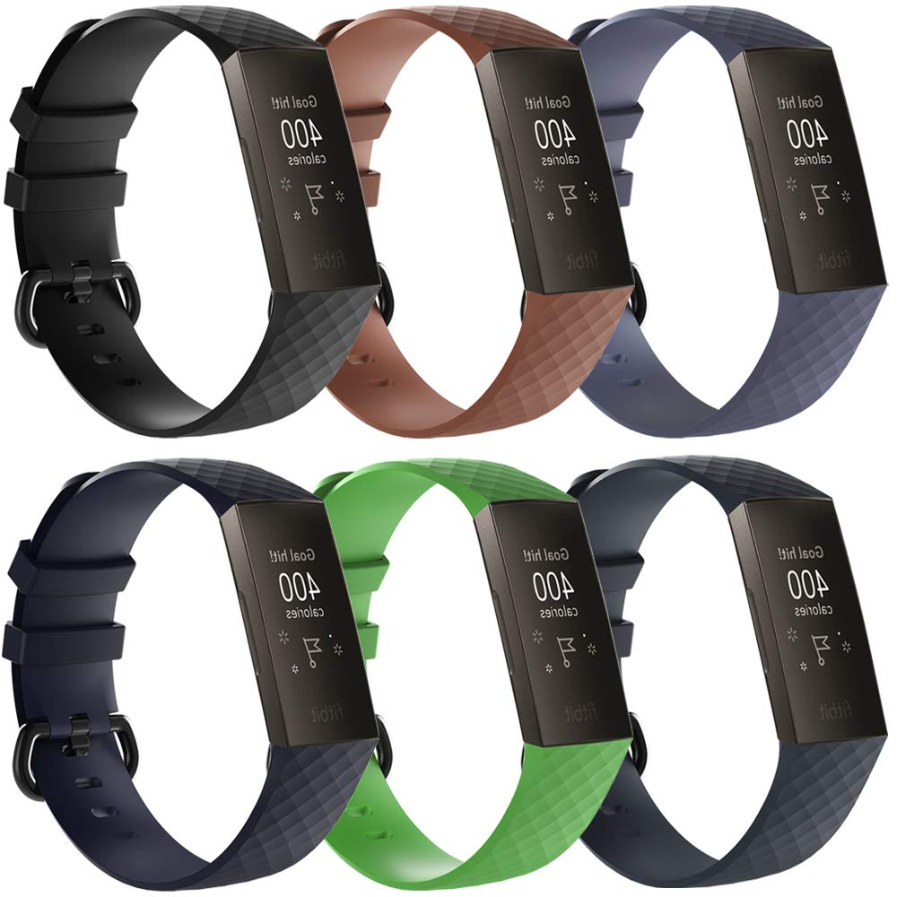 QGHXO Soft Silicone Adjustable Replacement Sport Strap Band Compatible with Fitbit Charge 3 // Fitbit Charge 3 Special Edition SE Fitness Activity Tracker No Tracker