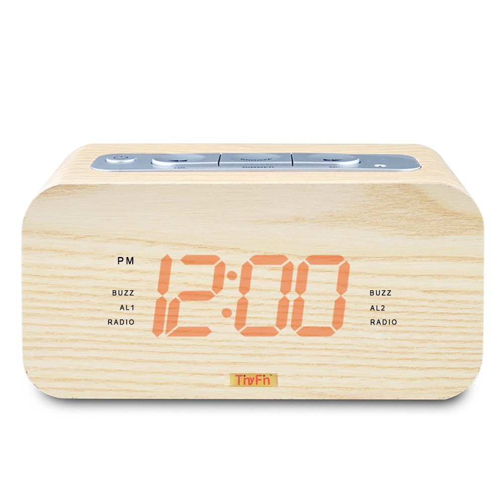 TinyFin Wood Grain FM Radio Digital Alarm Clock External Speaker