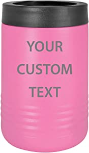 Custom Personalized Stainless Steel Engraved Insulated Beverage Holder Can Cooler (Regular, Pink)
