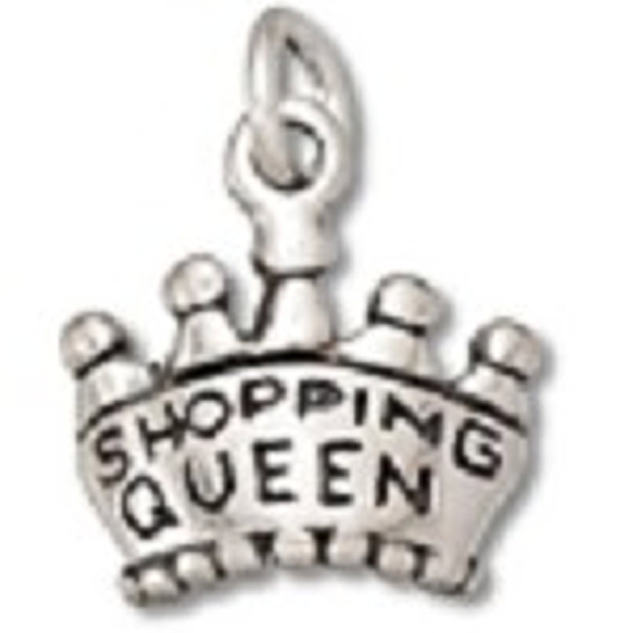 Sterling Silver Girls .8mm Box Chain Queen Of Shopping Crown Pendant Necklace