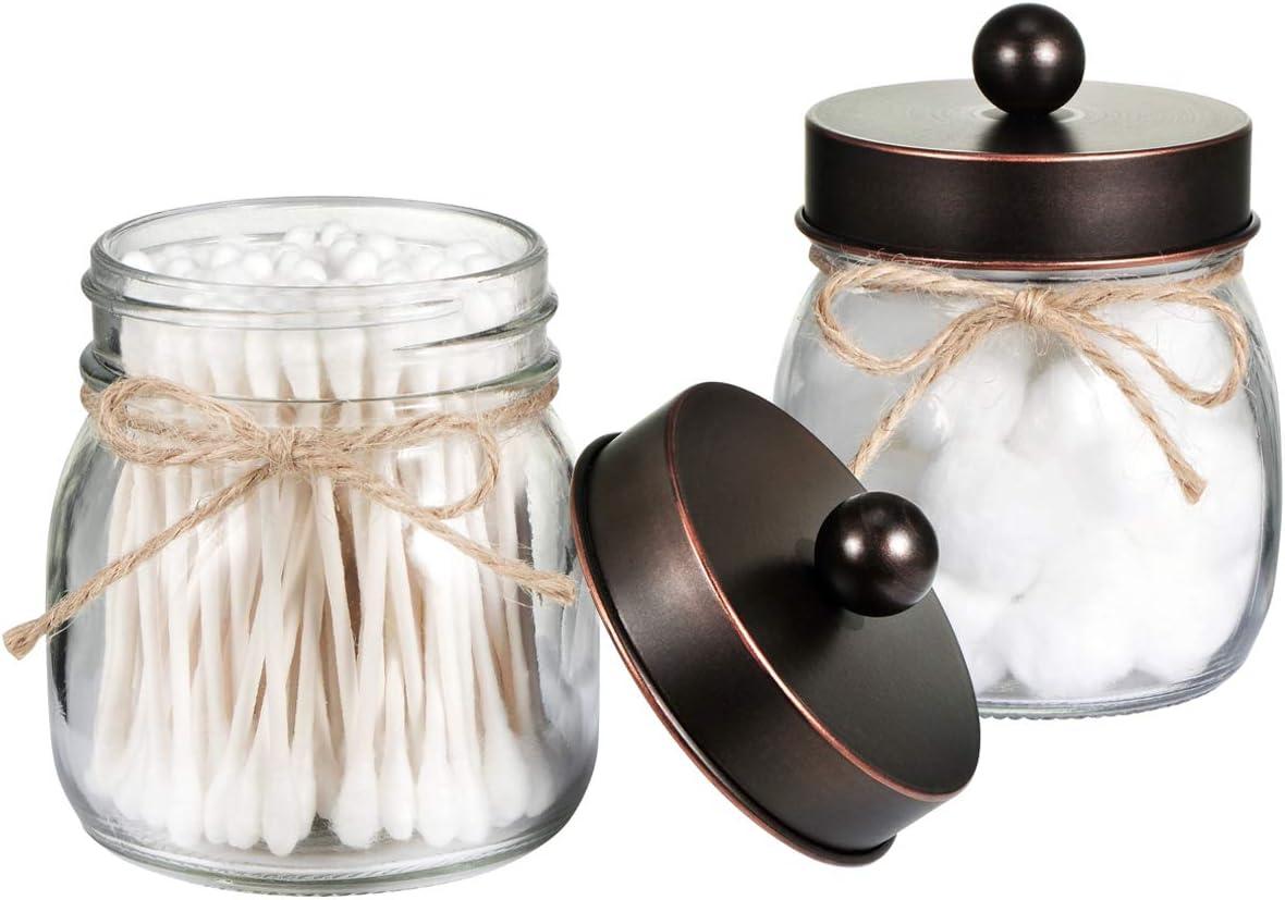 Mason Jar Bathroom Storage Organizer - Oil Rubbed Bronze - Rustic Farmhouse  Decor Bathroom Accessories - Qtip Holder Dispenser Glass Apothecary Jars