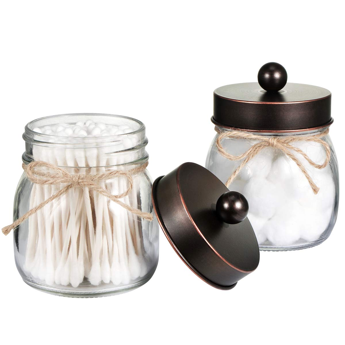 Mason Jar Bathroom Storage Organizer - Oil Rubbed Bronze - Rustic Farmhouse Decor Bathroom Accessories - Qtip Holder Dispenser Glass Apothecary Jars for Qtips,Cotton Swabs,Ball,Flossers (2 Pack)
