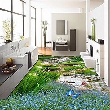 Mbwlkj Papel Pintado Jardín Pastizales Carpa De Agua 3D Suelo Pintura Moderna Familia Grande Autoadhesiva Suelo 3D-250Cmx175Cm: Amazon.es: Bricolaje y herramientas