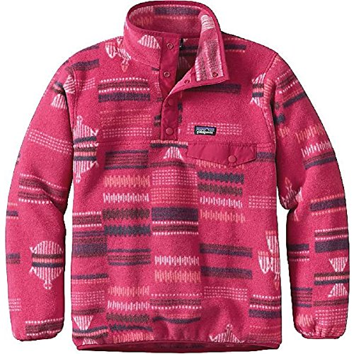 Patagonia Girls Lightweight Synchilla Snap-T Fleece Pullover (XL, River Tribe/Craft Pink) ()