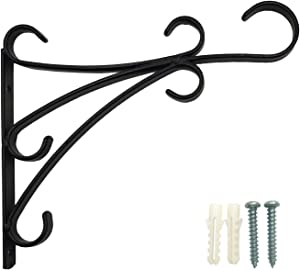 """OUTOUR Graceful Iron Heavy Duty 12"""" Plant Hook Planter Hanger Bracket for Hanging Wall Garden Decoration Patio Lawn Yard Backyard Indoor Outdoor Decor Home House Balcony Hall Porch, Matte Black"""