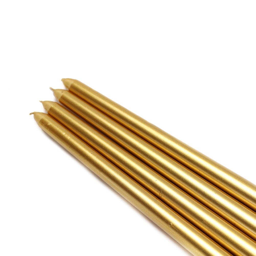 Zest Candle CEZ-085_12 144-Piece Taper Candle, 12'', Metallic Gold by Zest Candle (Image #1)