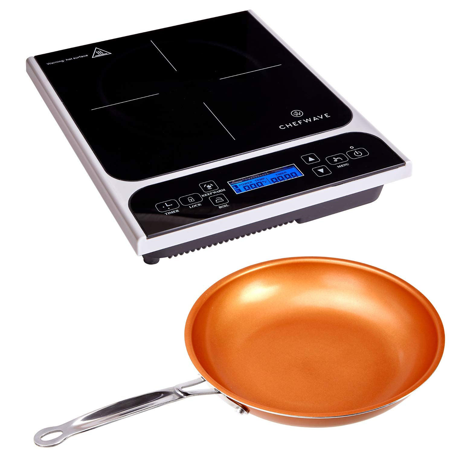 "ChefWave CW-IC01 1800W Portable Induction Countertop Burner - Bonus 10"" Copper Frying Pan - 20 Power/Temp Settings Digital LCD Touch Kitchen Cooktop Electric Cooker - Energy Efficient, Safety Lock"