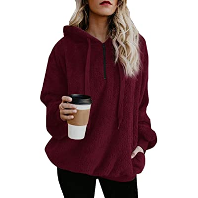 Adogirl Women's Sherpa Pullover Fleece Hoodies Sweatshirt Coat with Hood Pockets at Amazon Women's Coats Shop