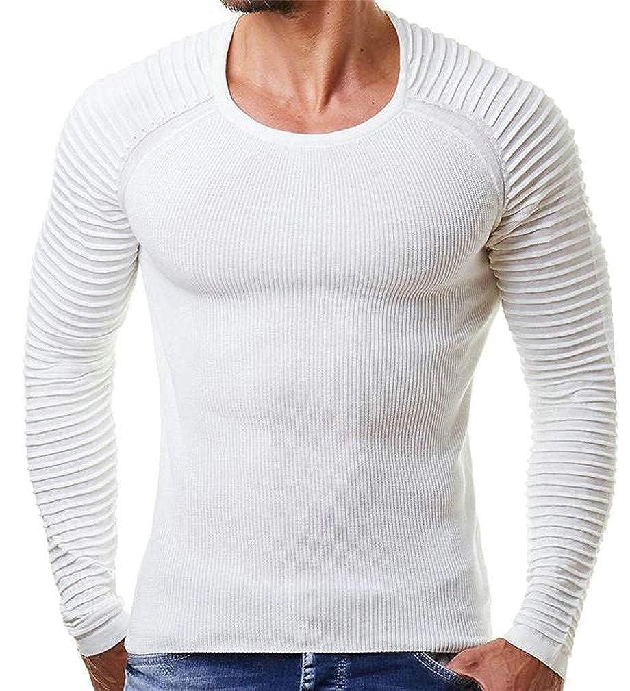 Joe Wenko Mens Crewneck Striped Classic Knitted Raglan Sleeve Pullover Jumper Sweaters