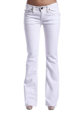 Stitch's Womens Bootcut Jeans Flap Pocket White Denim Trousers 25 ...
