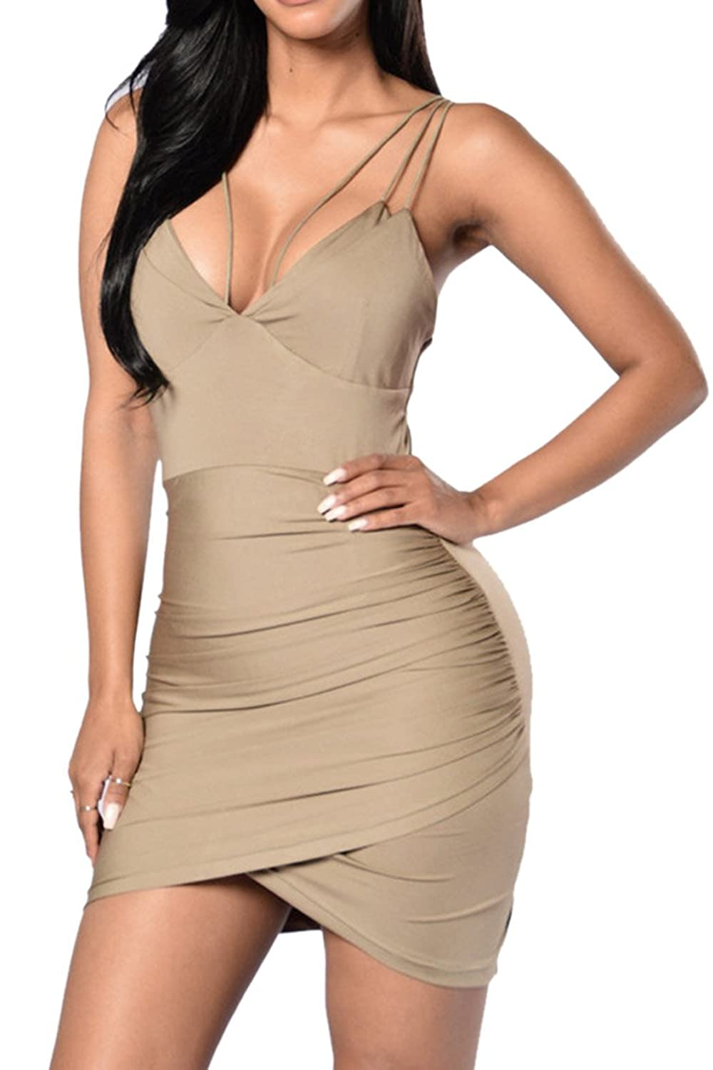 Merry21 Women's Ruched Wrap Backless Club Lace Up Bandage Bodycon Mini Dress