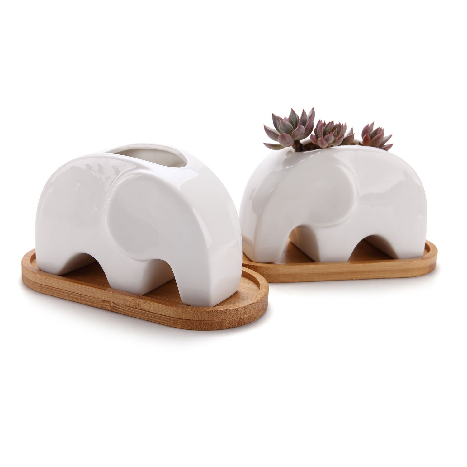 T4U Succulent Plant Pot Cactus Ceramic Planter with Bamboo Tray Pack of 2-4.8'' Elephant, Small Container White Animal Window Box Decorative Ornament Office Desktop Wedding Birthday by T4U (Image #1)