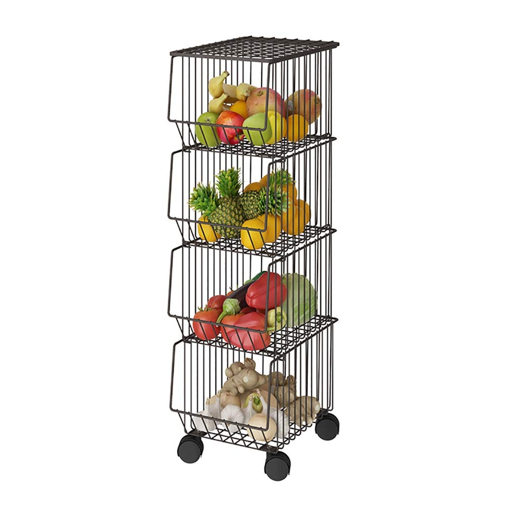 C Shelf Kitchen Narrow Removable Storage Rack Metal Pulley Easy to Move for Kitchen, Bathroom, Balcony, (Size   B)