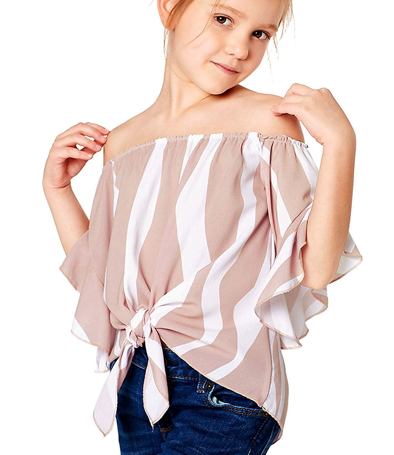 Girls Summer Shirts Off Shoulder 3//4 Sleeve Striped Tie Front Knot T-Shirt Casual Loose Blouses Tops