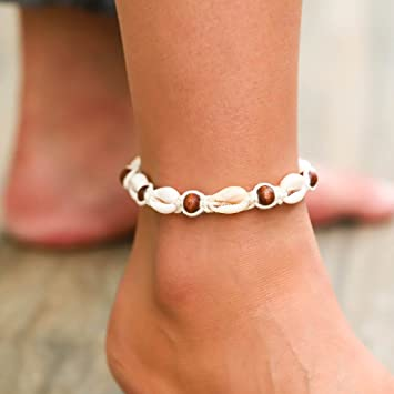 Handarbeit 23-25 cm Fußkette Fußband Muscheln Perlen Fußschmuck Fußkettchen NEU