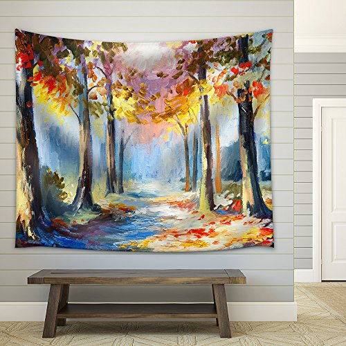 Five Bare Trees in a Row at the Edge of a Small Dutch Village Fabric Wall Tapestry