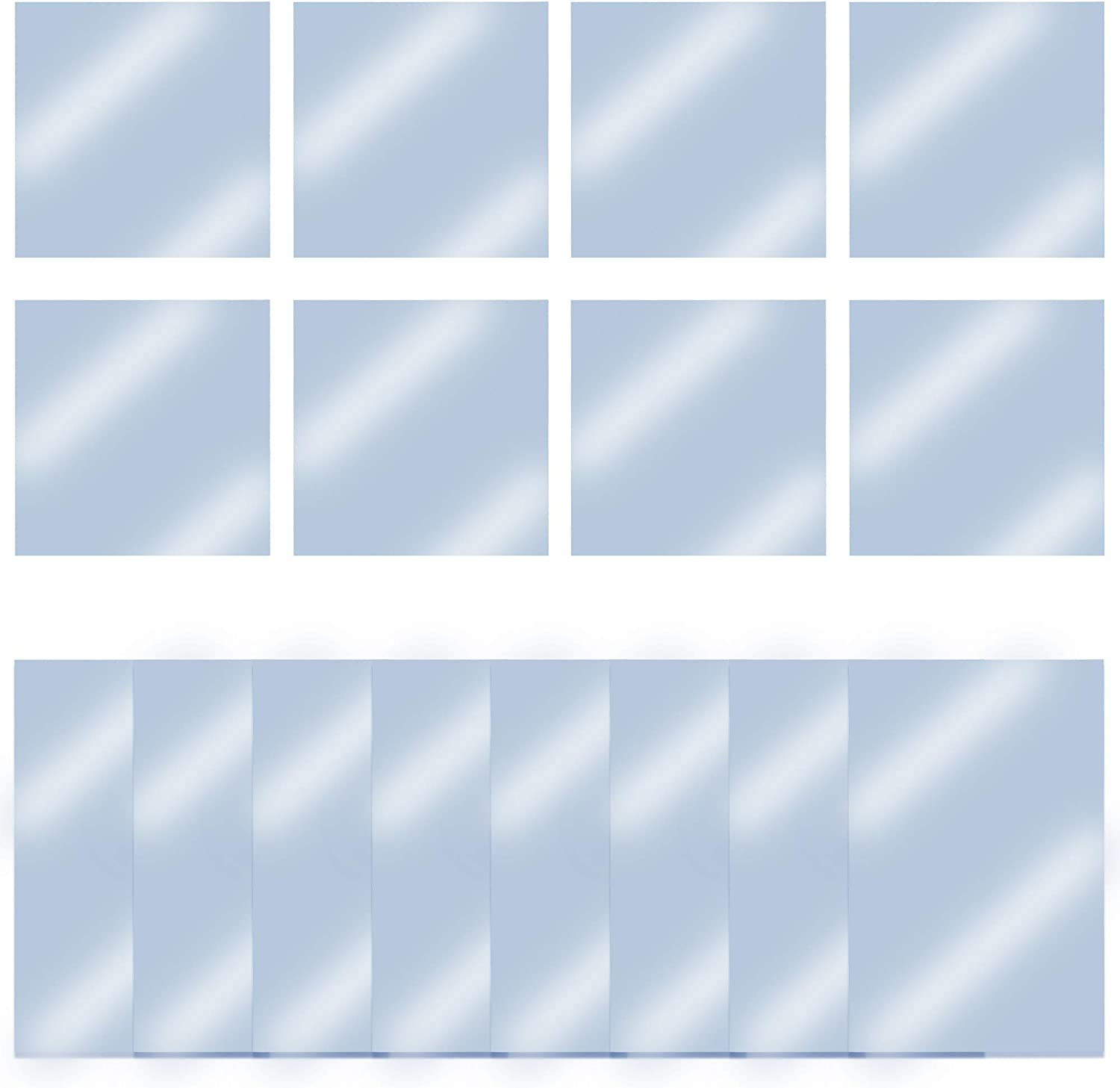 16 Pieces Self Adhesive Acrylic Mirror Sheets, Non-Glass Mirror Stickers Mirror Tiles for Home Wall Decor in 2 Sizes (9 x 6 Inch and 6 x 6 Inch)