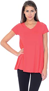 product image for Jubilee Couture Women's Solid Color V-Neck Short Sleeve Flare Tee Shirt Top - Made in USA (Small,Coral)