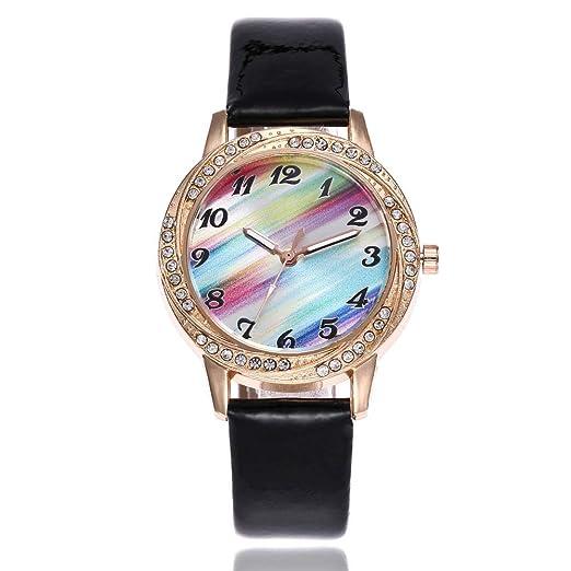 Contever Reloj de Cuarzo para Mujer - Arco Iris Esfera de Números, Correa de Cuero - Moda Negocio Clásico Retro Diseño, Reloj de Pulsera para Chicas Dama: ...