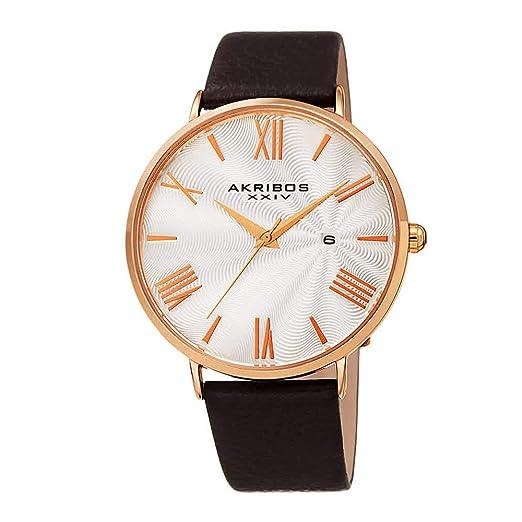 Akribos XXIV - Reloj de Pulsera para Hombre, diseño de Piel de cocodrilo en Relieve o Liso, Esfera Redonda clásica, marcadores de números Romanos, ...