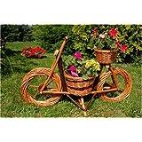 Deko-Shop-Hannusch Vélo décoratif en rotin avec panier jardinière