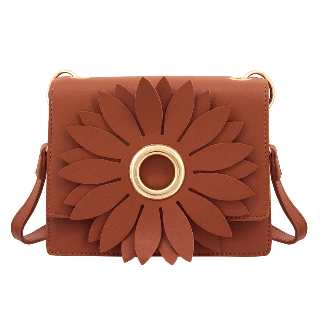 Naimo Elegant Flower Design Cross Body Bag Casual Dating Shoulder Bag (Brown)
