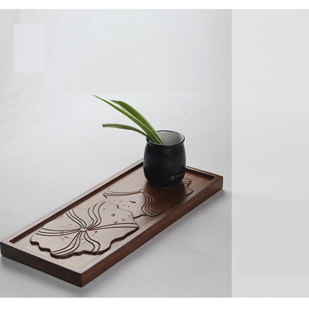 Tabletts Baoblaze Mini Tee tablett Kungfu Tee & Kaffee Tablett Wasser Bambus-Serviertablett 3