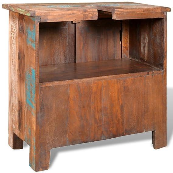 vidaXL Mueble de baño de Madera reciclada con Espejo: Amazon ...