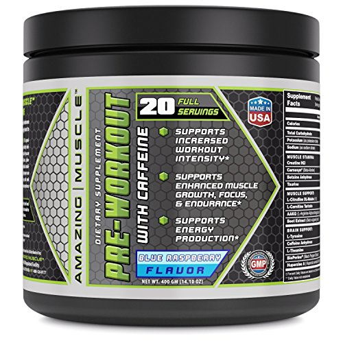 Amazing Muscle Pre Workout with Caffeine Maximum Energy Supplement - Powder Drink Mix - 20 Servings - Enhances Intensity, Improves Focus, Supports Muscle Growth (Raspberry)