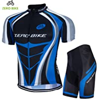ZEROBIKE Men's Short Sleeve Breathable Cycling Jersey Padded Pant Outdoor Sports Wear Breathable Quick Dry