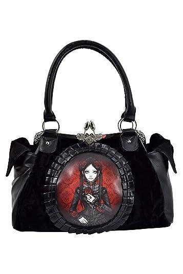 0c7a8485c60f Restyle Gothic Lolita Black Velvet Red Doll Cameo Kiss Lock Vintage Style  Handbag