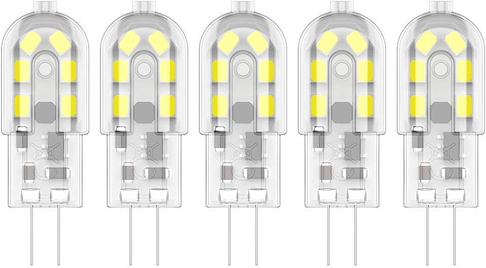 5X G4 LED Bombillas 2W Bombillas Lámpara 12 SMD 2835 LEDs Blanco Frío 6000K Iluminación LED 200LM Equivalente a Halógenas 20W AC/DC12V