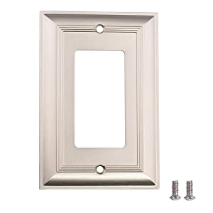 AmazonBasics Single Gang Wall Plate, Satin Nickel, 3-Pack