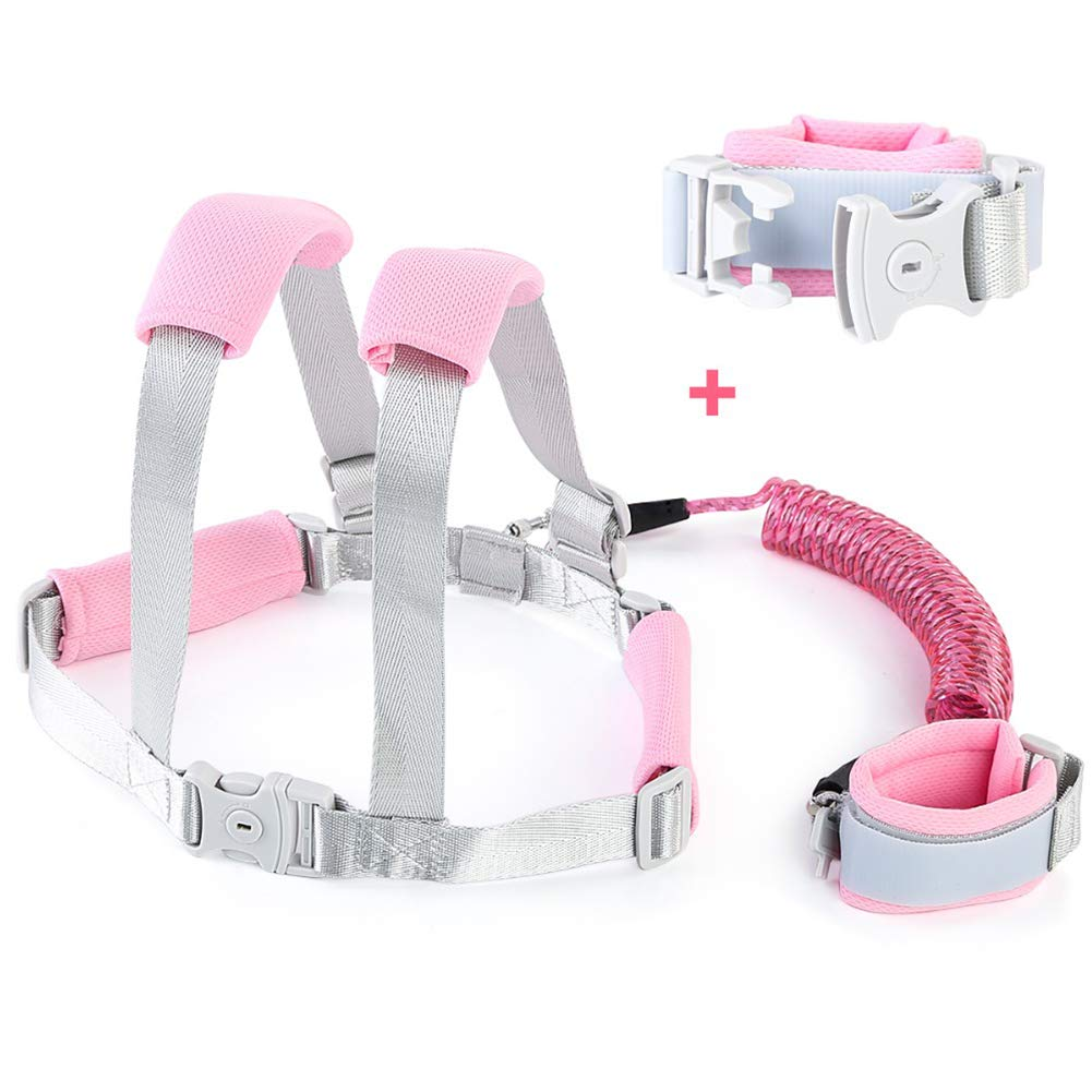 HBIAO Toddler Leash, Toddler Anti Lost Safety Wrist Link Kids Reflective Anti-Lost Walking Harness Baby Harness Safety Leash,Pink