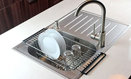 Attrayant Neat O Over The Sink Kitchen Dish Drainer Rack, Durable Chrome