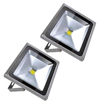 Focos LED Exterior 2X 50W PrimLight Foco Proyector LED Blanco ...