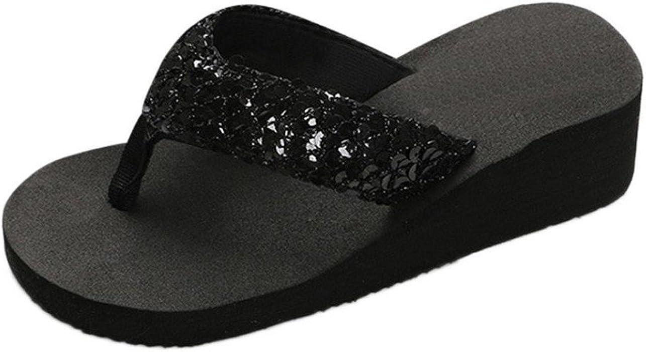 0b1e756bc29b55 Creazrise Women Wedge Sandals Sequins Thongs Flip Flop Summer Anti-Slip  Slipper Gold (Black