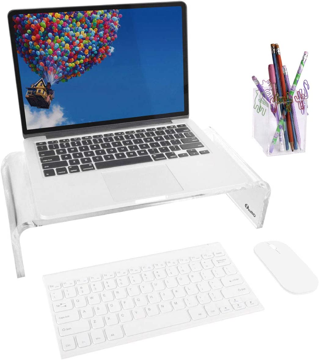 OFFICE1ST Acrylic Monitor Stand Monitor Riser Computer Stand Keyboard Storage Support Laptop Riser, Printer, TV Screen Stand, Free Pencil Holder(Small)