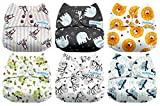 #5: Mama Koala One Size Baby Washable Reusable Pocket Cloth Diapers, 6 Pack with 6 One Size Microfiber Inserts (Rainforest)