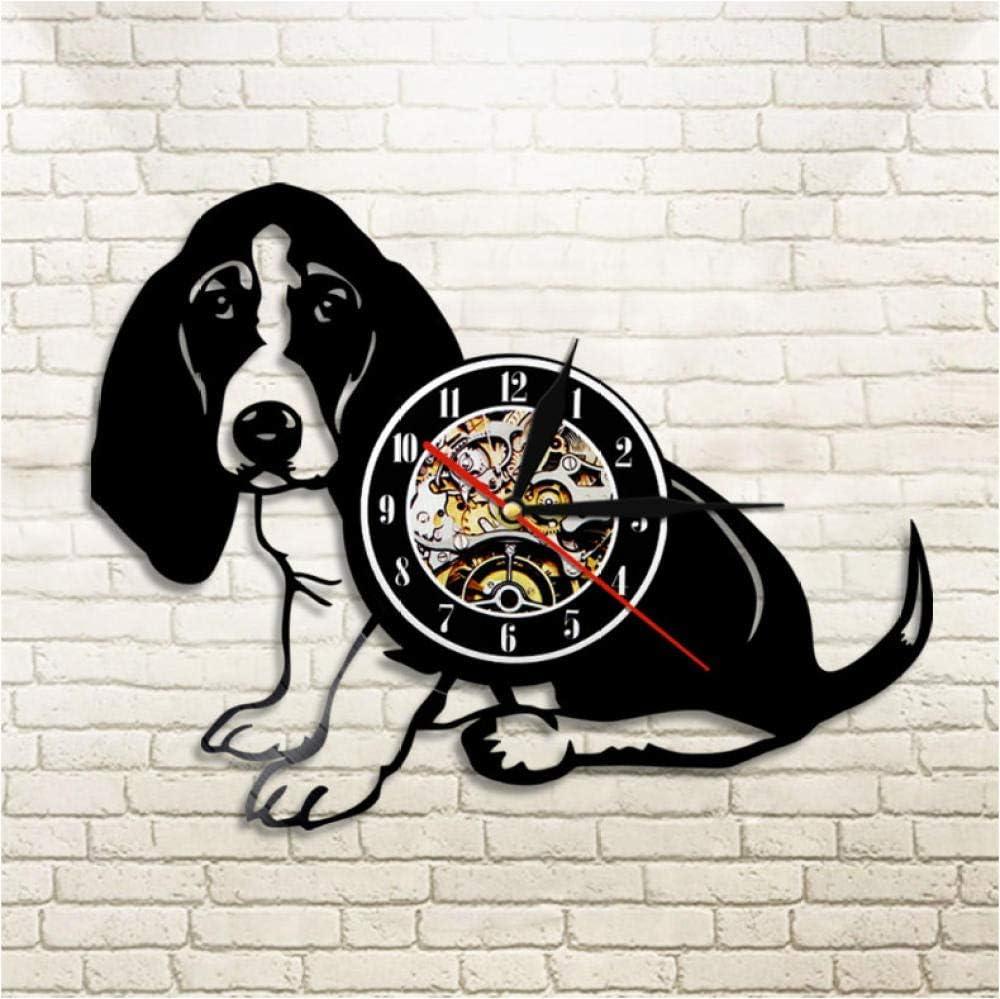 Basset Hound - Reloj de pared de vinilo con diseño moderno para mascota, cachorro, decoración del hogar, reloj de pared para regalo para amantes de los perros