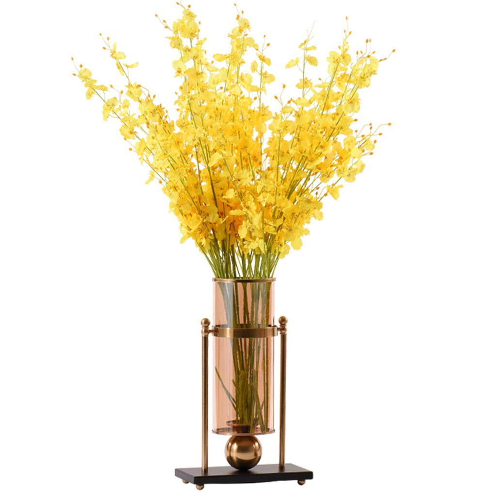 フラワーベース花器 花瓶のコンテナの宝石の贈り物の装飾品ヨーロッパの金属のシャンパンのガラスの装飾北欧のリビングルームのテーブルのコーヒーテーブルのシミュレーション花の柔らかい装飾 (Color : Gold, Size : 43*26*23cm) B07SW4Q63F Gold 43*26*23cm