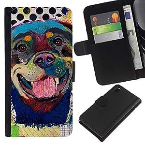 Rottweiler Dog Canine Modern Art - la tarjeta de Crédito Slots PU Funda de cuero Monedero caso cubierta de piel Sony Xperia Z3 D6603