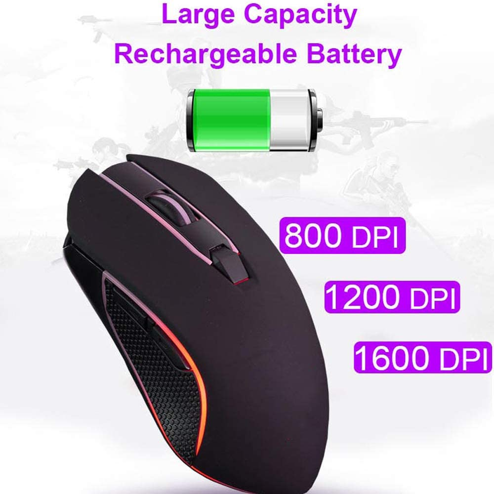Suitable for Laptops Rechargeable X9 Wireless Mute Mouse LED Glare USB Ergonomic Design Game Mouse 1800Dpi Optical Positioning