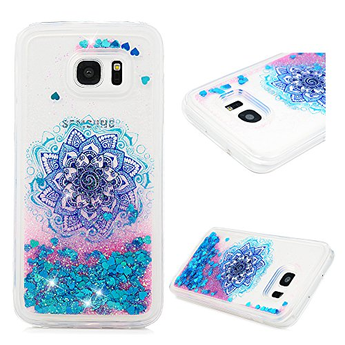 Galaxy S7 Edge Case, Liquid Glitter Case Bling Shiny Sparkle Flowing Moving Love Hearts Cover Clear Ultral Slim Protective TPU Bumper Shockproof Drop Resistant Case for Samsung Galaxy S7 Edge KASOS
