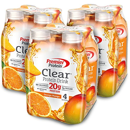 Premier Protein Clear  Drink, Orange Mango, 16.9 fl oz Bottle, (12 Count) (Protein Water)