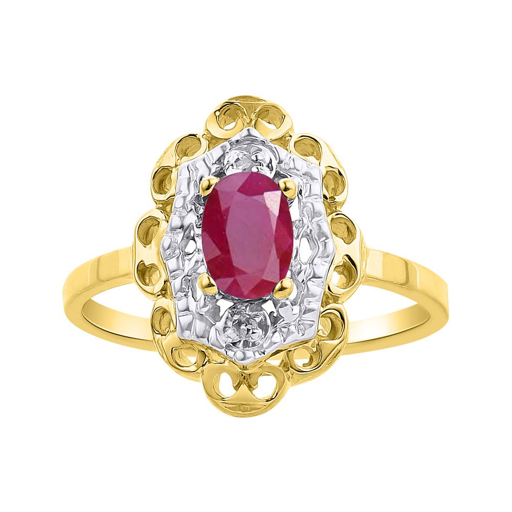 Diamond /& Ruby Ring Set In Yellow Gold Plated Silver Diamond Halo