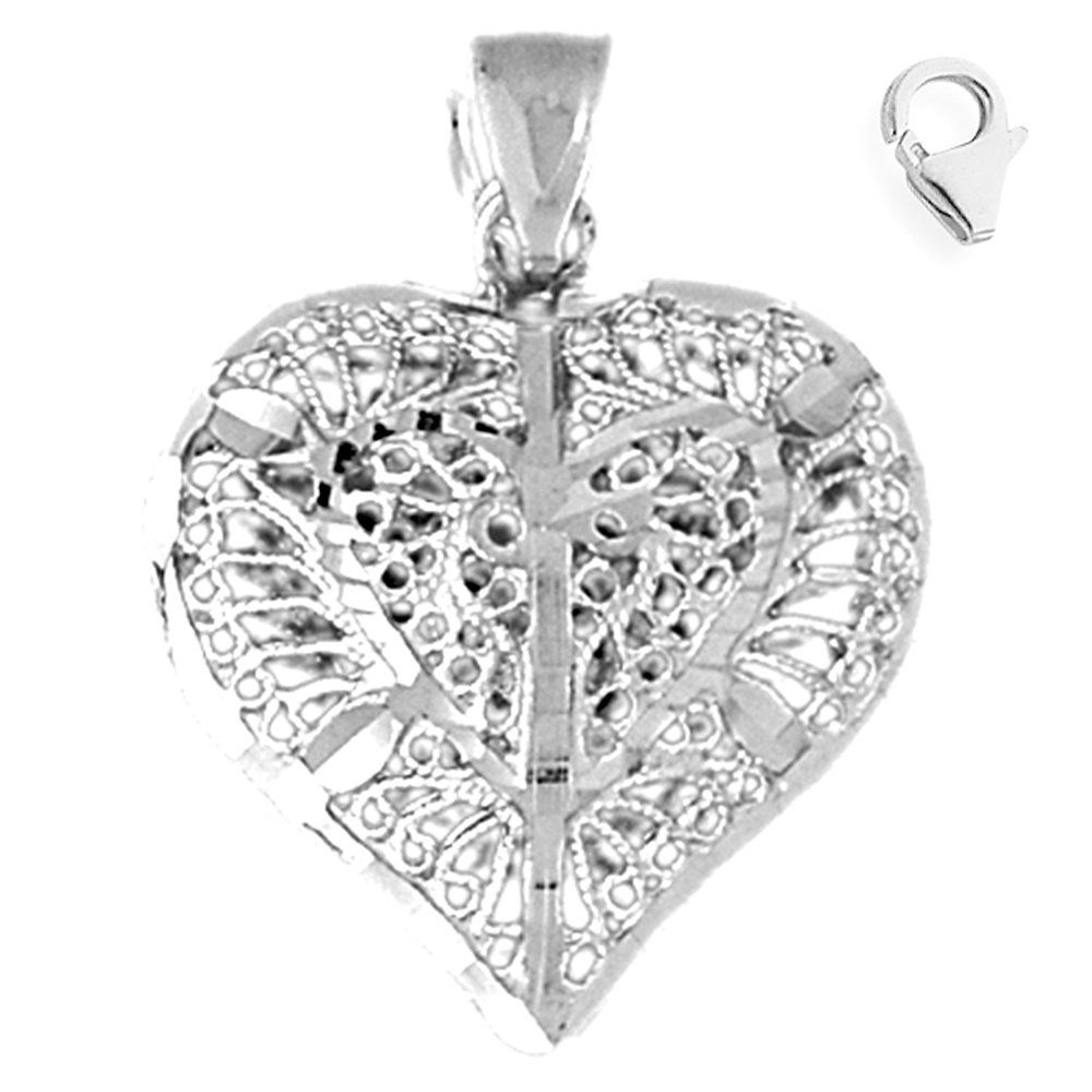 JewelsObsession Sterling Silver 31mm 3-D Filigree Heart Charm w//Lobster Clasp