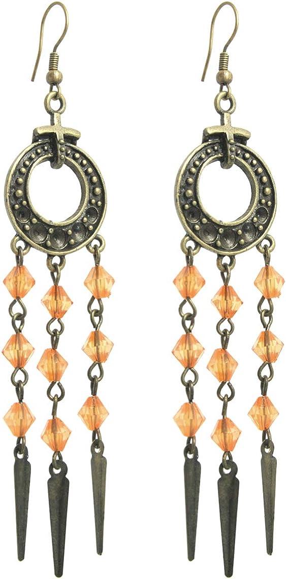 2LIVEfor - Pendientes largos, color naranja, dorado y cobre, diseño de gota antigua, largos y vintage, pendientes con forma de lágrima, con atrapasueños, perlas naranjas